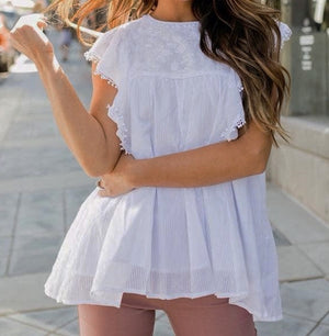 White Flowy Cotton Top