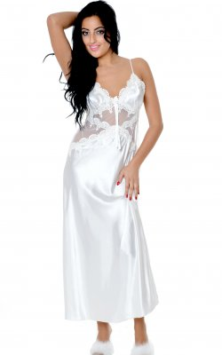 Vx Intimate 6074 Women's Silky Nightgown With Venice Lace