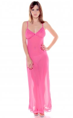 Vx Intimate 6080 Women's Georgette Nightgown with Lace