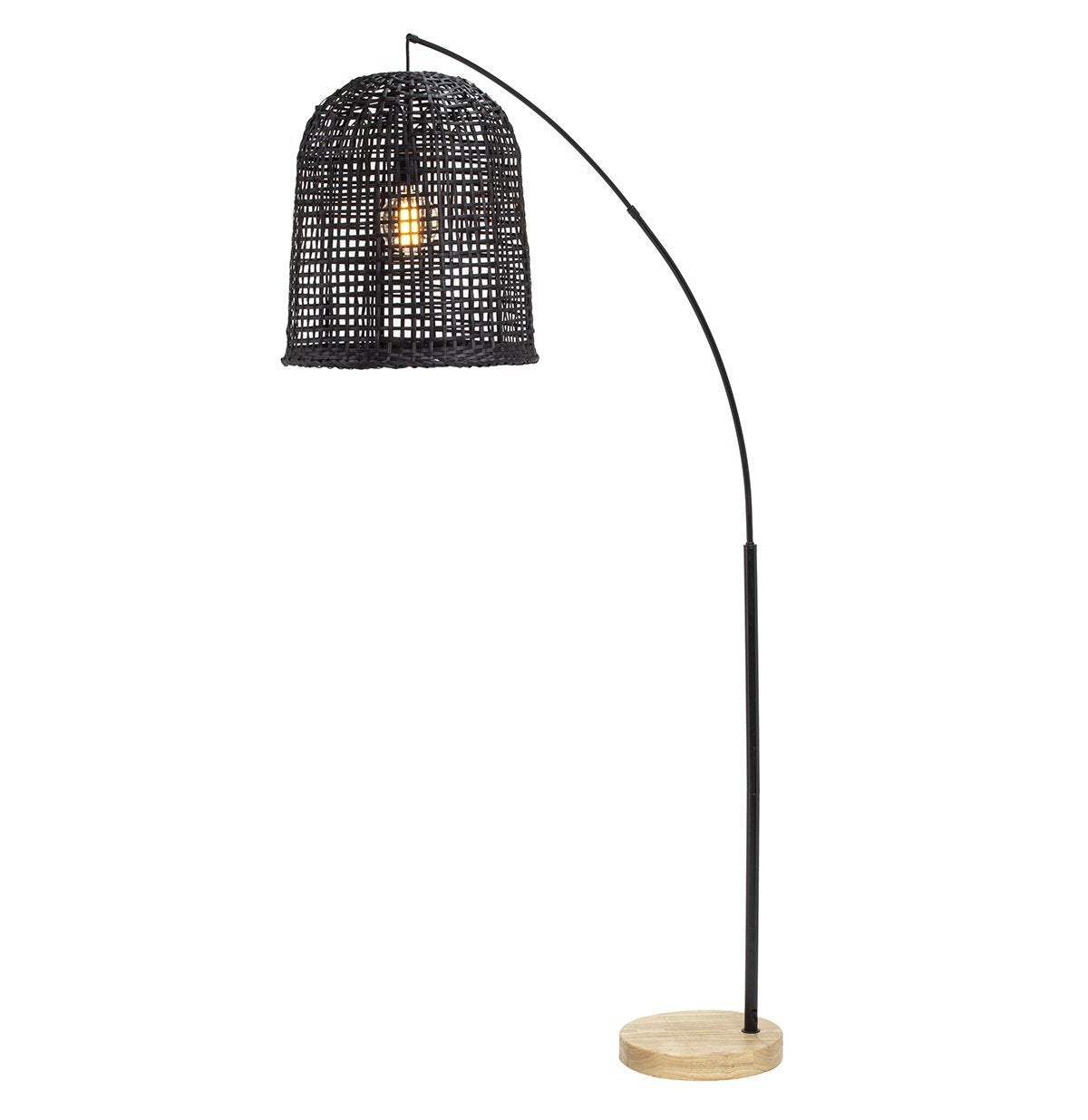 Black Weave Rattan Floor Lamp