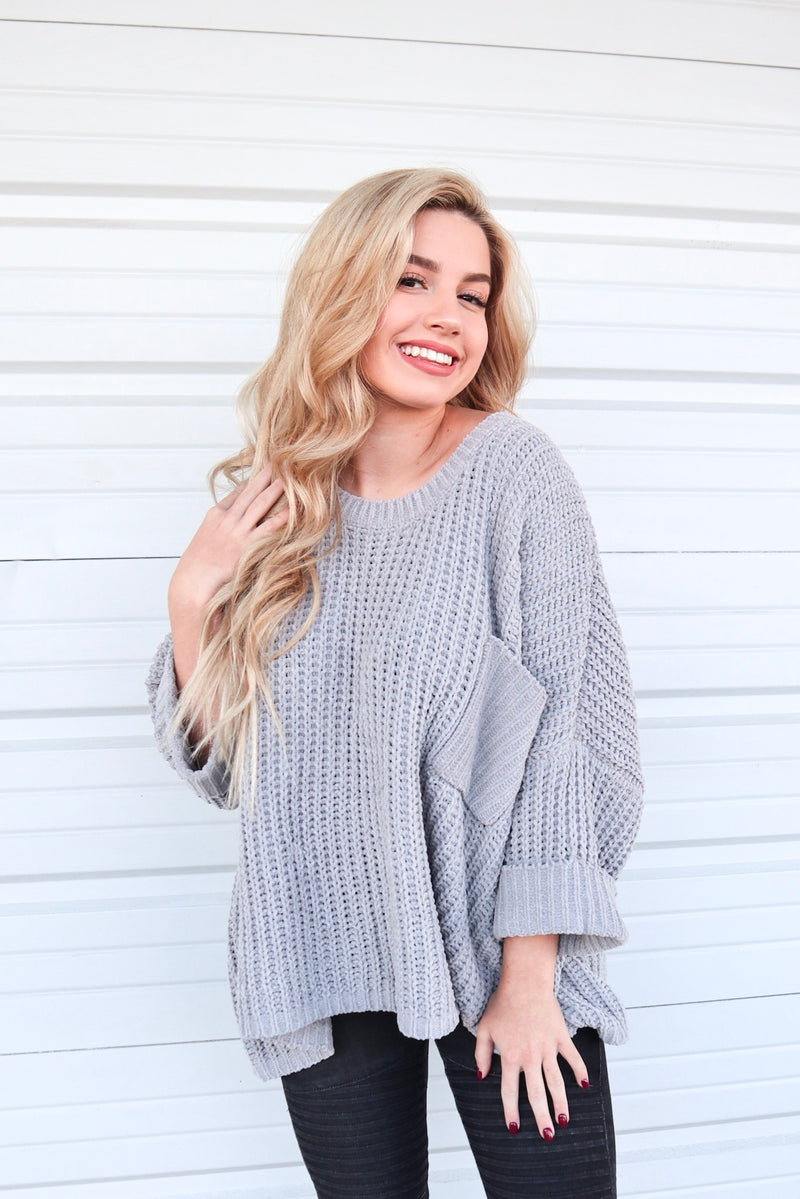 MEET ME BY THE FIRE SWEATER GRAY