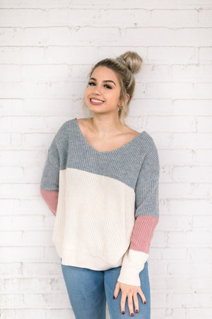 WILD AT HEART SWEATER COLOR BLOCK