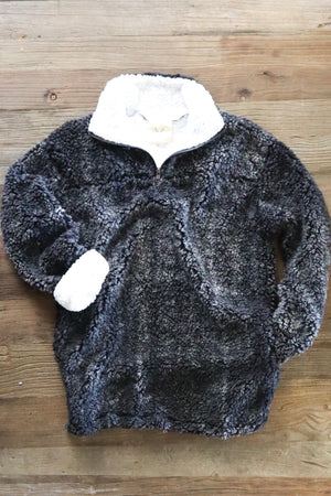 BABY IT'S COLD OUTSIDE SHERPA PULLOVER CHARCOAL
