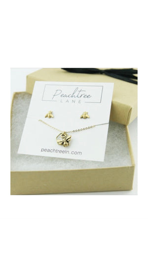 TINY BRASS BEE LAYERED HEX NECKLACE AND EARRING SET