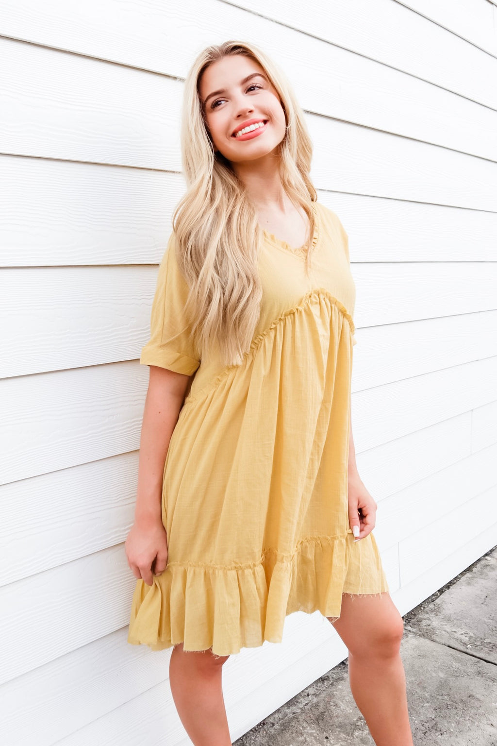 DREAMING OF YOU SHIFT DRESS MUSTARD