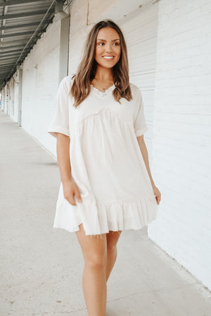 DREAMING OF YOU SHIFT DRESS NATURAL