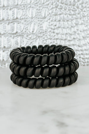 BLACK MATTE HAIR TIE SET