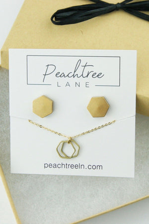 GOLD BRASS DOUBLE HEX NECKLACE AND EARRING SET