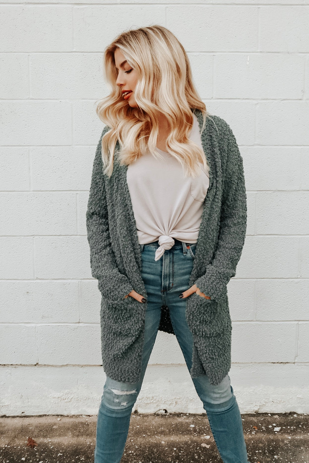 HEARTS LIKE OURS CARDIGAN DEEP SAGE
