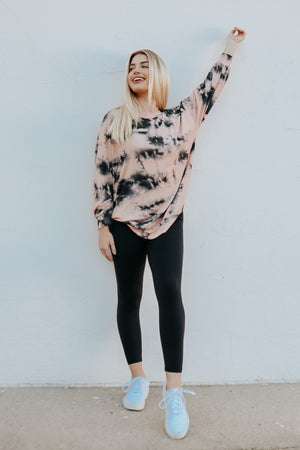 JUST CHILL TIE DYE TOP PEACH