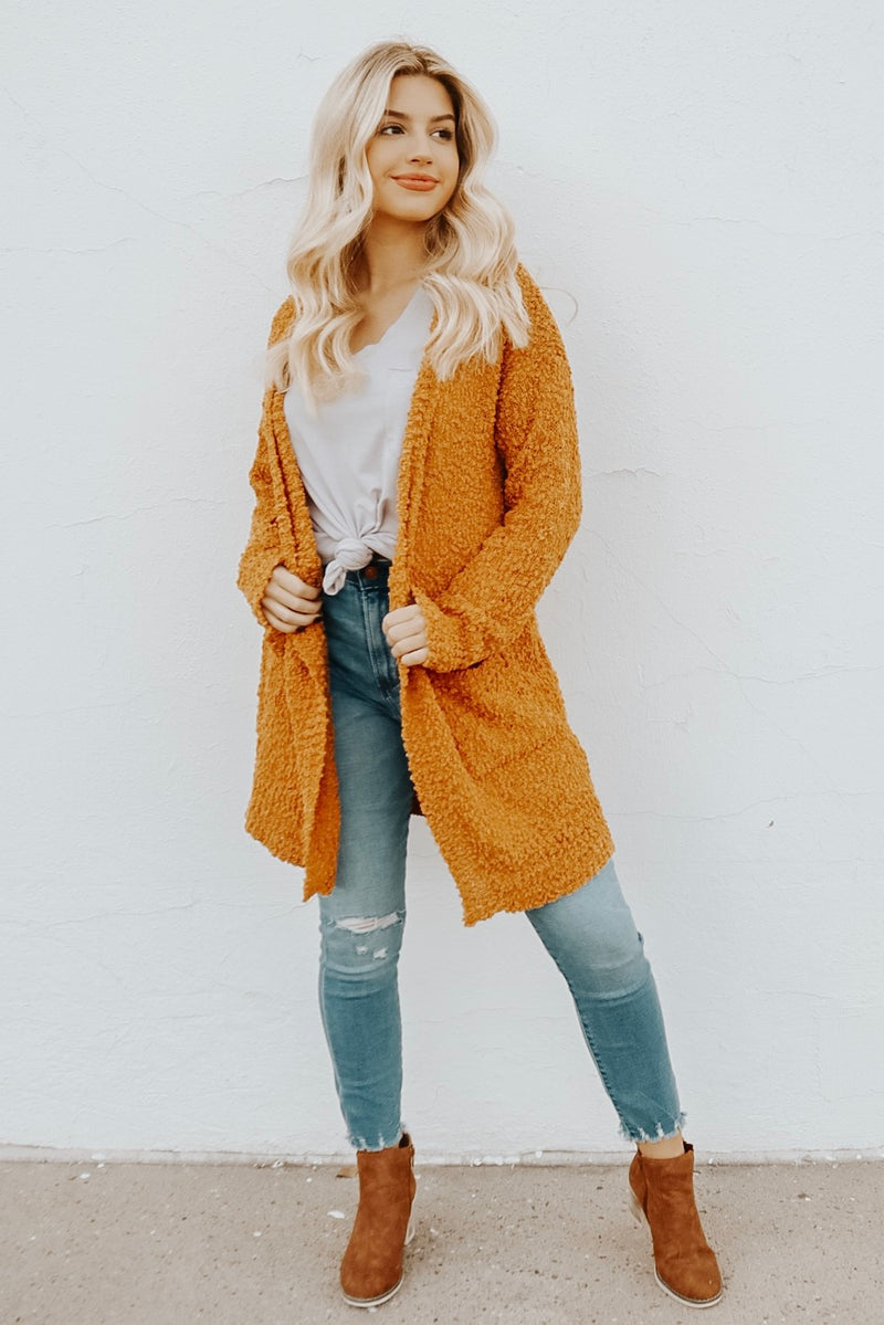 HEARTS LIKE OURS CARDIGAN GOLDEN MUSTARD