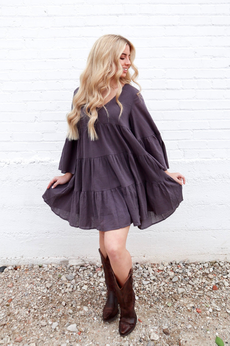 SOMEWHERE IN TIME DRESS MOCHA GREY