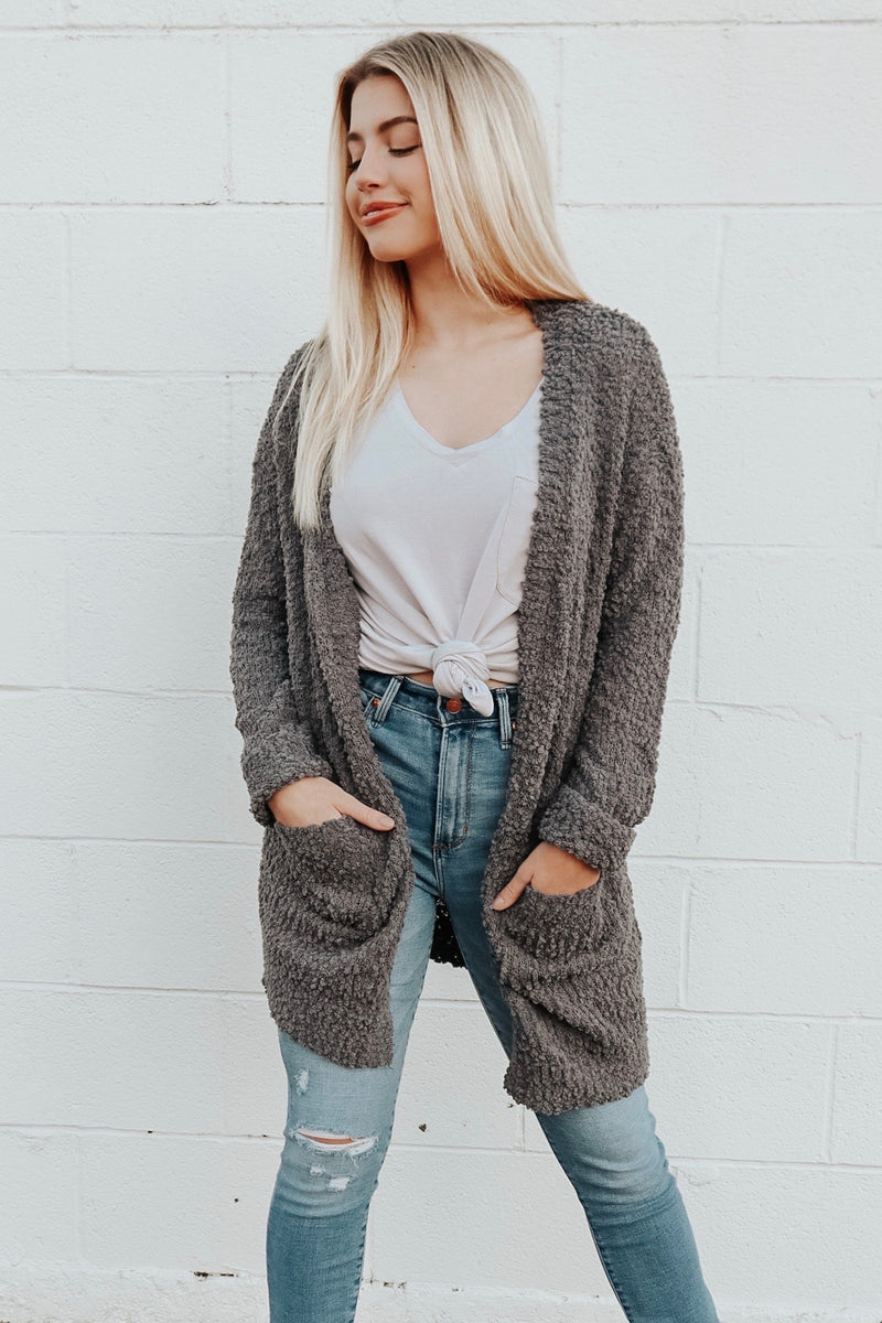 HEARTS LIKE OURS CARDIGAN CHARCOAL
