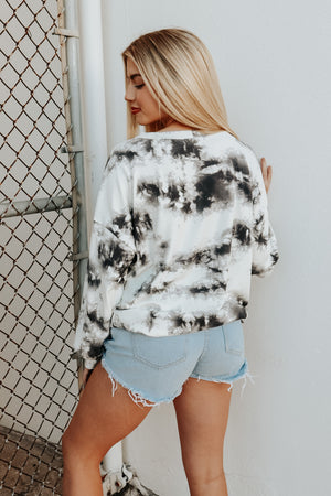 JUST CHILL TIE DYE TOP WHITE