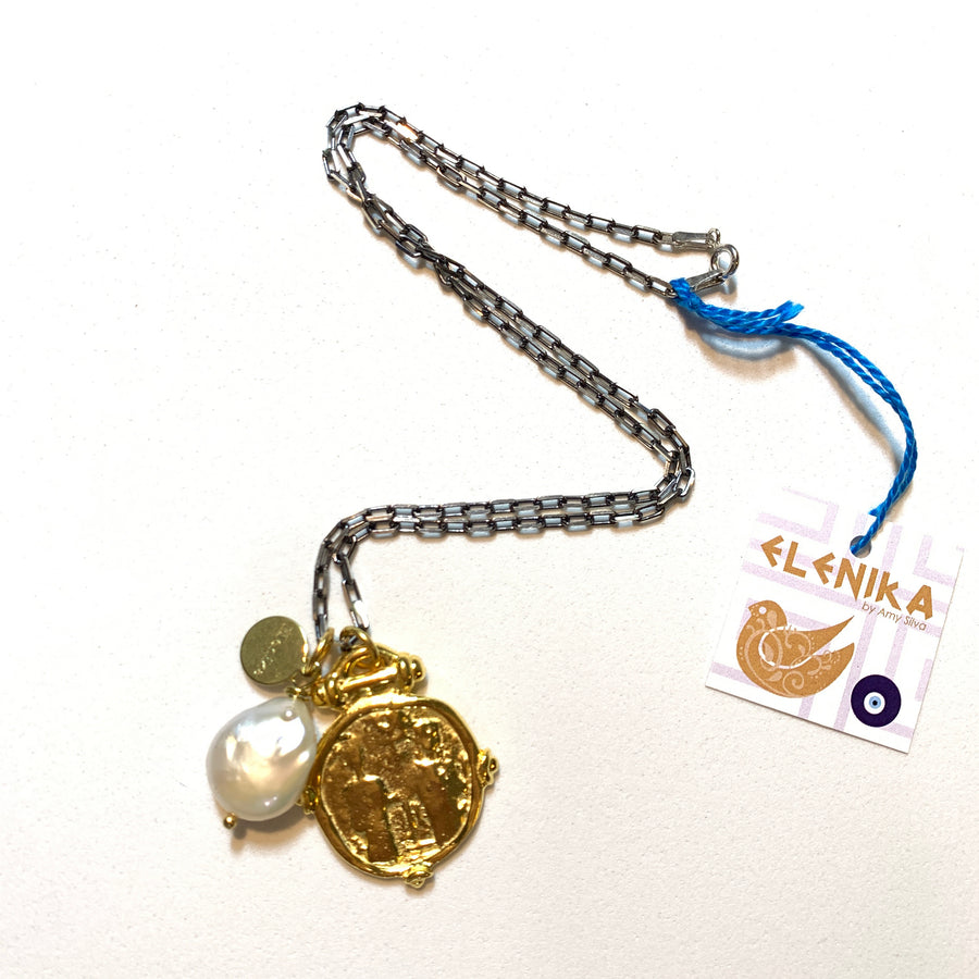 Draçma coin & pearl necklace