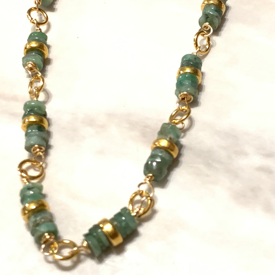 Rough Emerald Stones Necklace