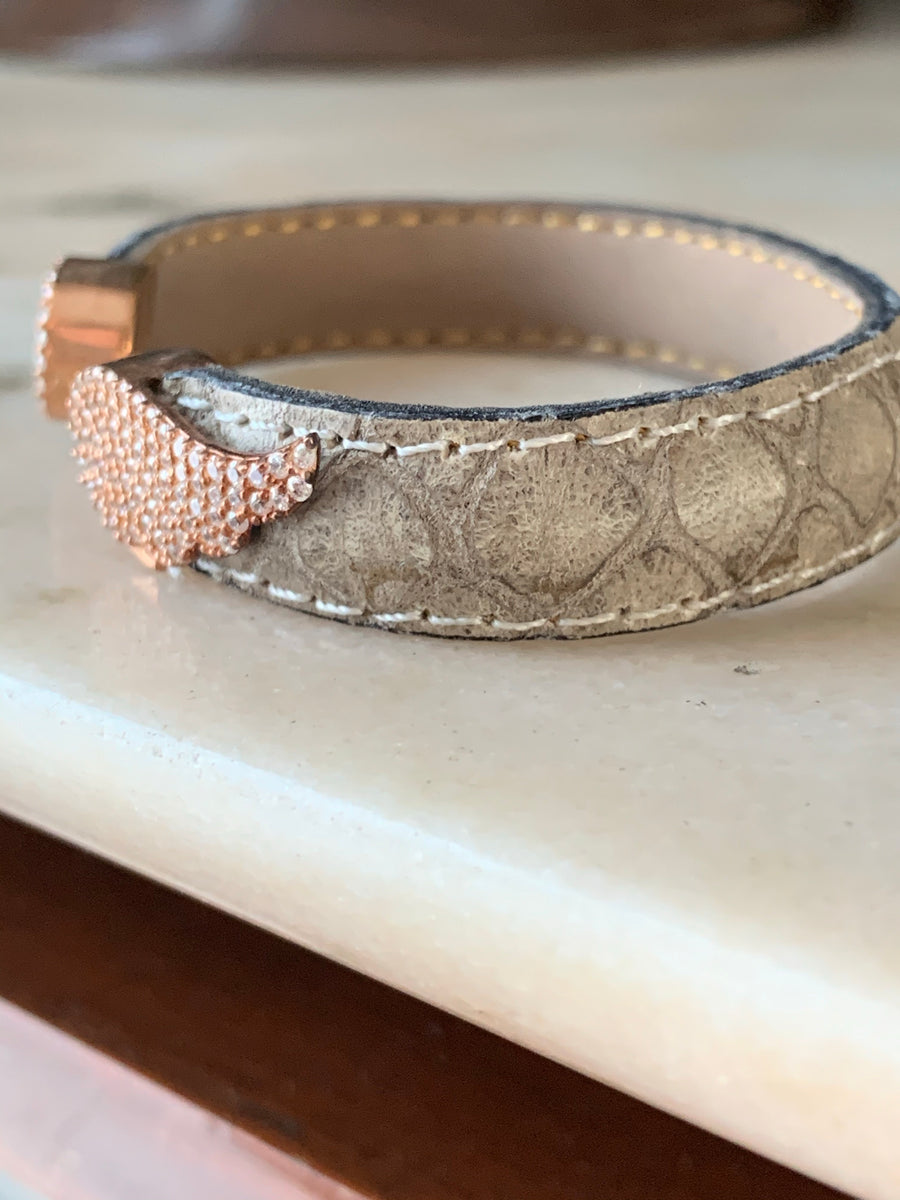 Wings Crystal Pave  Leather Bracelet