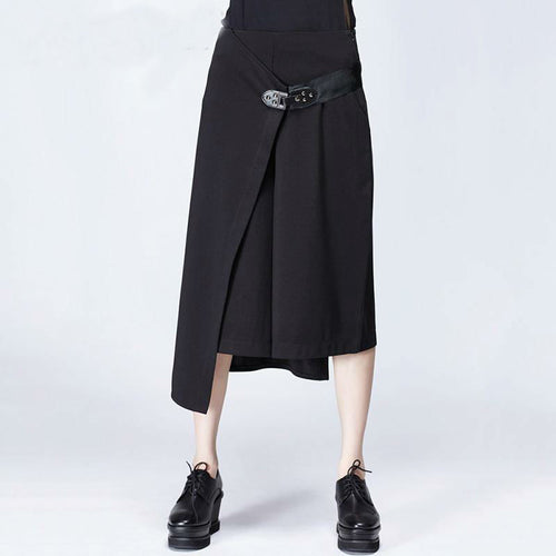 J-Jupe-Culotte Taille Haute, Jambes Larges