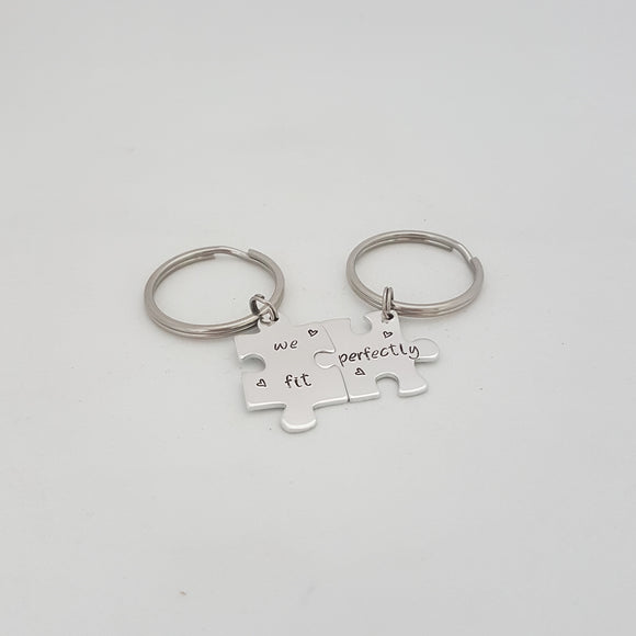 Puzzle Piece Keyring Set
