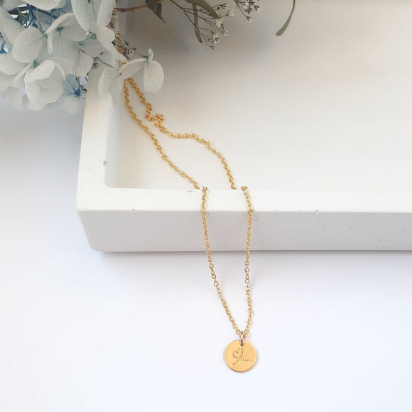 Gold 10mm Disc Necklace