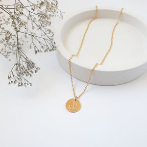 Gold 13mm Disc Necklace