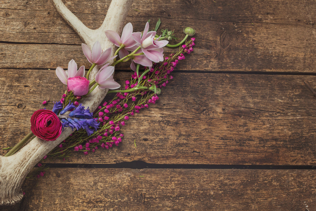 Flowers arranged on an antler and barnwood background.