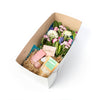 Custom floral and gift box, designed by Tickled Floral in Sherwood Park, delivery to Edmonton, Beaumont, St.Albert