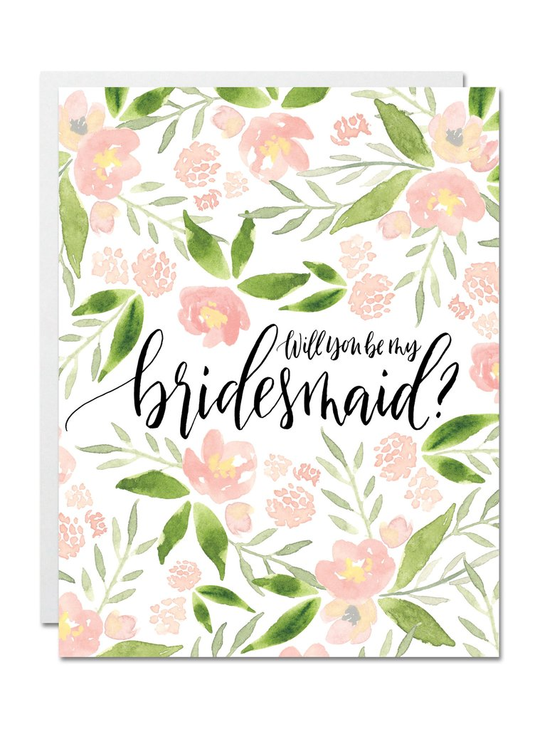 Justine Ma Designs Card that reads Will You Be My Bridesmaid?