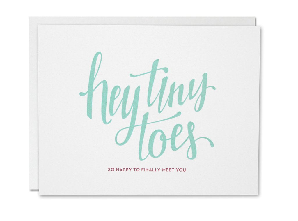 Justine Ma Designs Card that reads Hey Tiny Toes