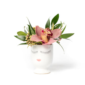 Mini flower arrangement in a small face pot, designed by Tickled Floral in Sherwood Park, delivery to Edmonton, Beaumont, St.Albert
