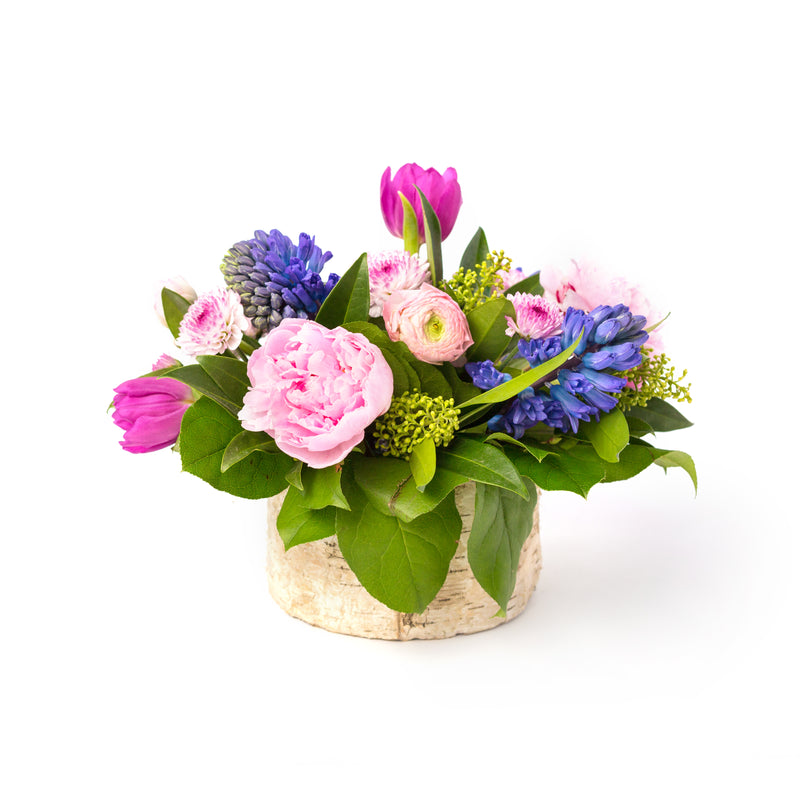 Flowers in a birchwood pot, designed by Tickled Floral in Sherwood Park, delivery to Edmonton, Beaumont, St.Albert
