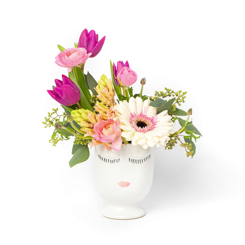 Flowers in a large face pot, designed by Tickled Floral in Sherwood Park, delivery to Edmonton, Beaumont, St.Albert