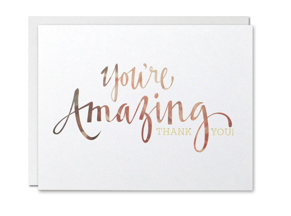 Justine Ma Designs Card that reads You're Amazing. Thank You.