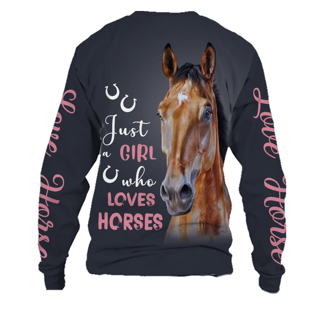 Horse Lover Just A Girl Who Loves Horses Dogs Unisex Sweatshirt tee