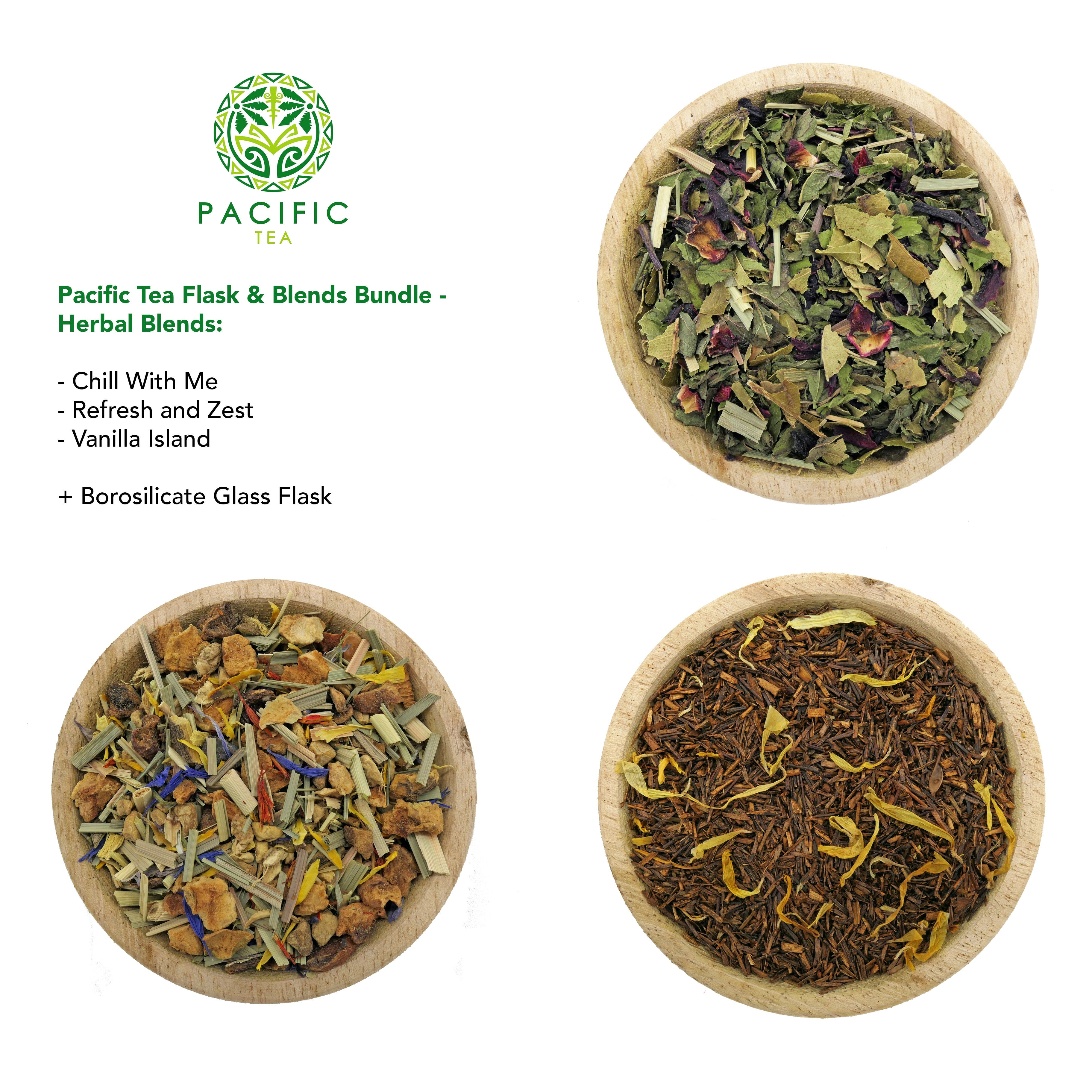 Pacific Tea Flask & Blends Bundle (3 blends + glass flask)