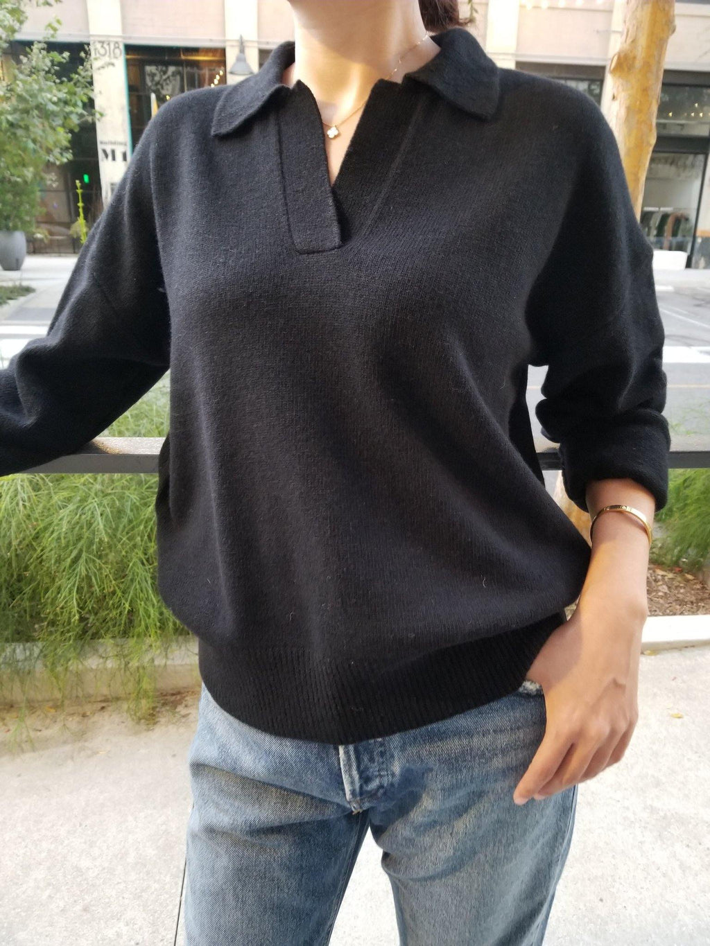 Le Bon Shoppe Nanette Sweater Top - Ebony - Vincent Park