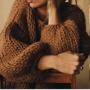 Hendrik Lou Hand Knit Crop Sweater - Camel