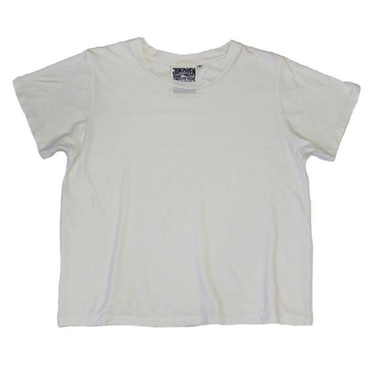 Jungmaven Cropped Ojai Tee - Washed White
