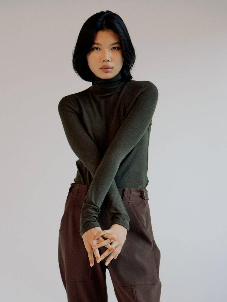 Mijeong Park Roll Neck Jersey Top - Olive