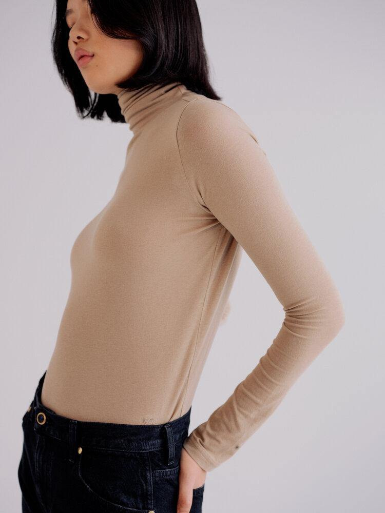 Mijeong Park Roll Neck Jersey Top - Taupe