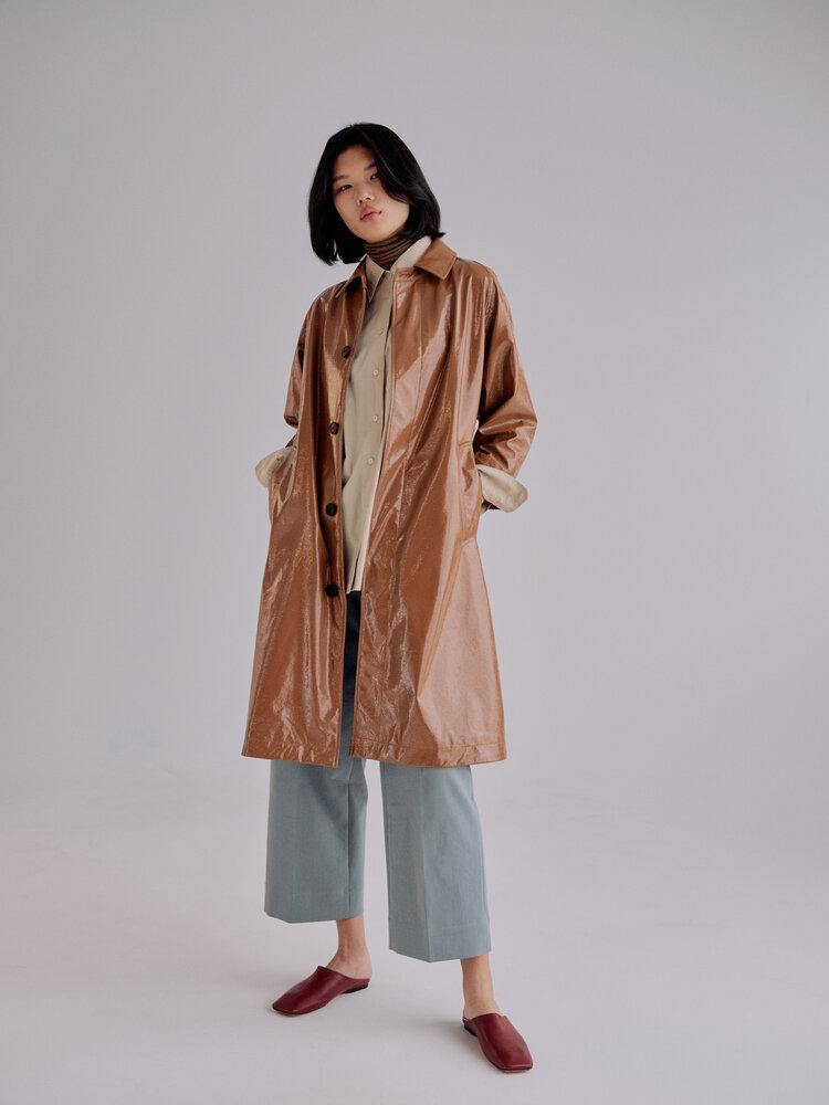 Mijeong Park Patent Faux Leather Trench
