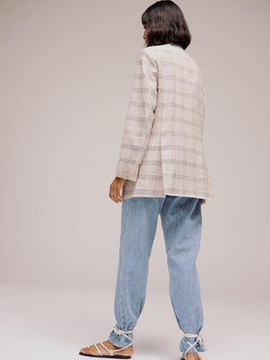 Mijeong Park Oversided Tailored Jacket - Beige Plaid