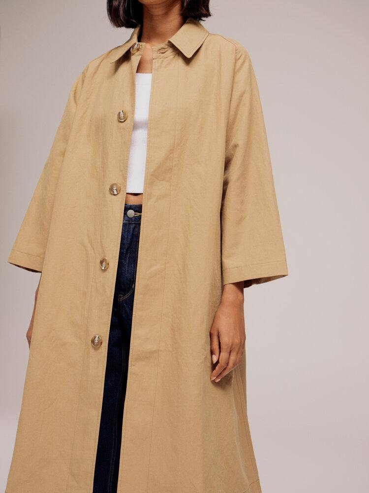 MIjeong Park Linen Cotton Trench - Dark Beige