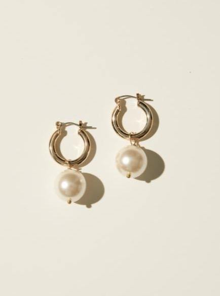 Maslo Jewelry Tiny Latch Hoops with Round Pearl - Vincent Park
