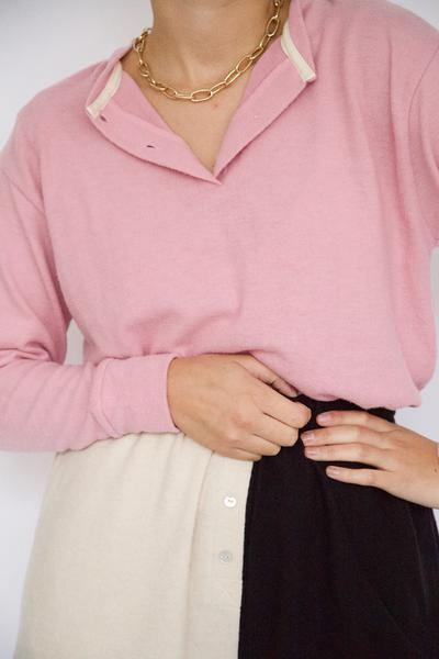 Donni Sweater Henley - Rose