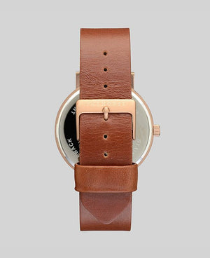 The Horse Original Watch - Brushed Rose Gold / Walnut Leather