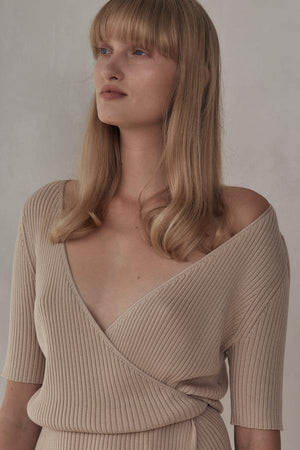 St. Agni Anais Wrap Knit Dress - Sand