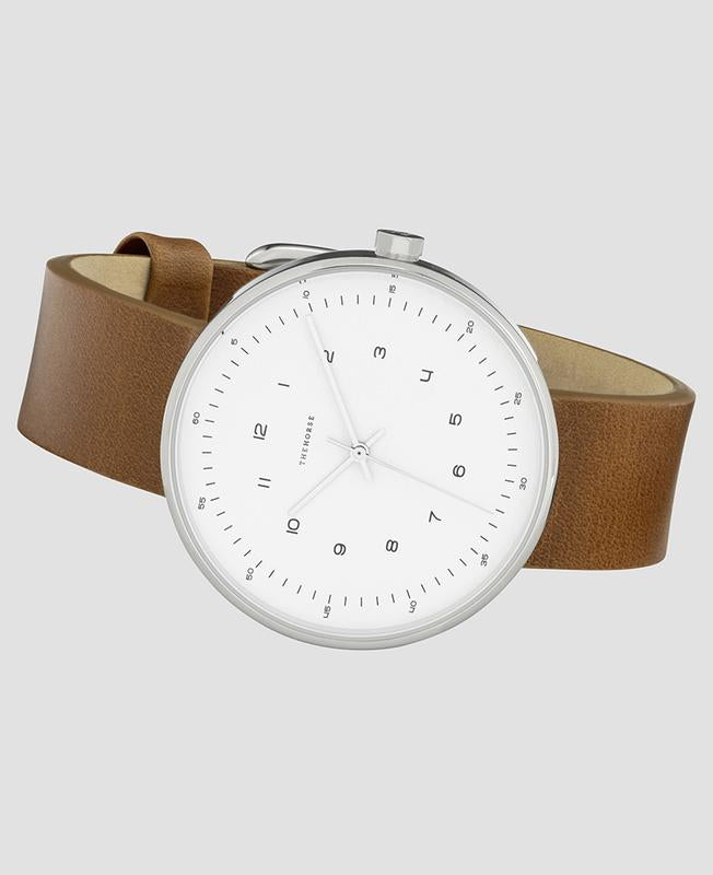The Horse The Minimal Watch - 40mm: Polished Silver / Tan