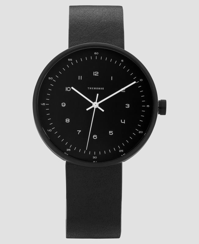 The Horse The Minimal Watch - 40mm: Matte Black / Black
