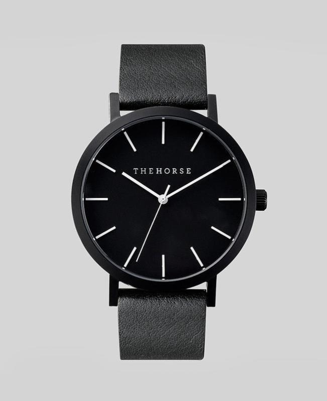 The Horse Original Watch - Black / Black Leather